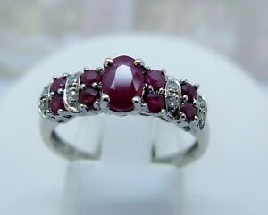 9ct white gold ruby and diamond ring size M 375