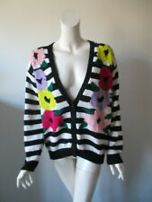 Vintage Cervelle Black And White Striped Floral Acrylic Knit Cardigan Sweater M