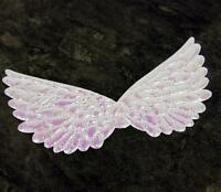 10 x WHITE AB LARGE ANGEL WINGS APPLIQUES IDEAL FOR CHRISTMAS CRAFT W8