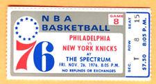 "11/26/76 KNICKS/76ERS TICKET STUB-""DR. J"" CAREER 76ERS GM PLAYED #17...24 PTS"