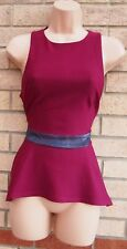 BOOHOO PURPLE BURGUNDY GLITTER WAISTBAND PEPLUM PARTY XMAS TOP BLOUSE 12 M