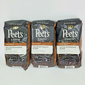 Peet's Major Dickason's Dark Roast WHOLE BEAN Coffee (3) 10.5oz Bags