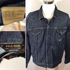 VTG POLO JEANS Co. Ralph Lauren RL Dark Washed Denim Jacket Hipster Men's Large