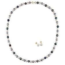10k Gold Freshwater Black, White and Grey Pearl Earrings and Necklace