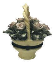 Vintage Ks Collection Floral Basket Ceramic Trinket Box Pink Roses Ivory Basket