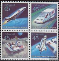 USA 2068A-2071A Viererblock (kompl.Ausg.) postfrisch 1989 Kongress Weltpostverei
