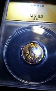 TONER! 1940 Lincoln Cent ANACS MS62RB RAINBOW COLOR