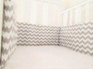Gooseberry Baby Cot Crib Bumper Cotton Chevron Grey 210 x 30 cm