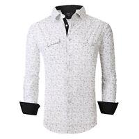 Mens Premier Shirt Black Burgundy Floral Paisley Prints Silky Stretch Button Up