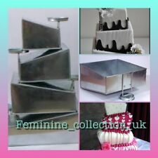 Mini Topsy Turvy 4 Tier Square Cake Pans Tins 5.7.9.11 with 4 detachable stands
