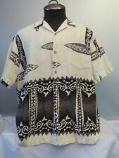 Retro RJC Aloha Hawaiian Shirt - Black and White Tribal Pattern - Men's XL