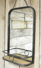 Vintage Industrial Nautical Metal Wall Mirror Wooden Shelf Chain Hanging NEW