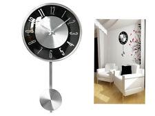 Noir Horloge pendule mural chrome poli effet décoratif maison moderne