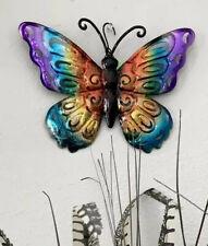 "Metal Butterfly Wall Art Garden Decor 10"" Fence Yard Outdoor Lawn Rustic Home"