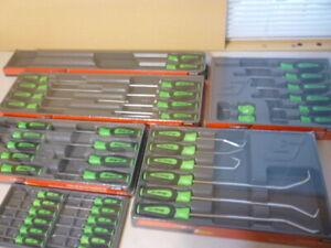 New Snap On 45 Piece Green Screwdrivers, Torx, Picks & Mini to XXL Screwdrivers