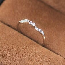 Women 925 Silver Willow Leaf Binary Star Diamond Ring Wedding Engegament Jewelry