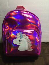 Olivia miller Girl Pink Metallic Holographic Unicorn Backpack