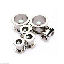 """PAIR-Opal Center Steel Screw On Tunnels 16mm/5/8"""" Gauge Body Jewelry"""