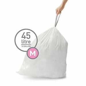 simplehuman Code M Custom Fit Liners, Trash Bags, 45 Liter/12 Gallon, 100-Count
