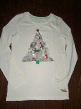 NWT CAT & JACK  OFF WHITE HOLIDAY GRAPHIC LS TEE: SIZE 14/16