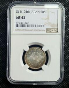 1936 (S11) Japan 50 Sen Silver Coin NGC MS 63