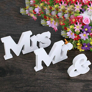 Mr and Mrs Wedding Wooden Decor Sign Wood Letters  Decoration Table Top Standing