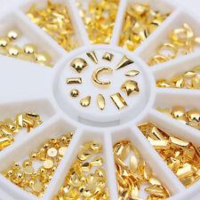 Gold Rivet Studs 3D Nail Art Decoration Star Moon Teardrop Square Triangle Tips