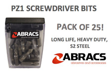 SCREWDRIVER BITS X 25 PZ1 POZI 1 HEAD 25MM HEAVY DUTY SCREW DRIVER BIT 25 PACK