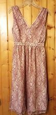 Mesh & Lace Red Lace Occasion Elation Dress Sz S Blush Midi $130 NWOT Bridesmaid