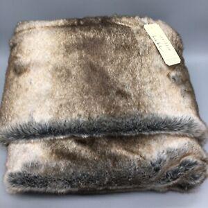 Nicole Miller Artelier Faux Fur Throw Blanket Brown Cream Blend 50x60 Luxury NEW