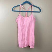 Lululemon pink racer back tank top size 8 power y tank yoga built in bra