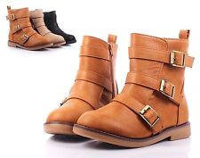 Tan Buckles Combat Military Zip Open Mid Calf Low Heels Women Boots Size 7.5