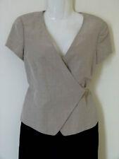 Giorgio Armani Beige silk linen wrap gilet  short sleeve jacket UK Size 10