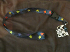 lanyard for Id Holder Mobile Device Black with Multi Colored Stars Design 15""