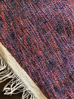 Vintage Cotton Dhurry Dhurrie Hand Made Kilim Rug Indigo Red Finely Hand Woven