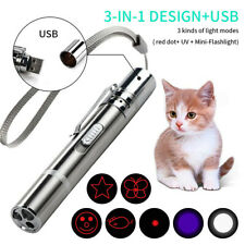 3 in1 USB Recharge Light Torch Mini Red Laser Pointer Pen Pet Cat Teaser ToyRCsh