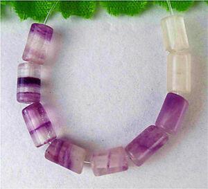 7x4mm 8Pcs Natural Purple Fluorite Height Hole Circular Tube Bead AP15153