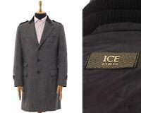 Mens ICEBERG Over Coat Tailored Jacket Wool Herringbone Grey Size 40 50