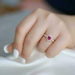 2CT Heart Cut Red Ruby Diamond Halo Wedding Engagement Ring 14k Rose Gold Finish