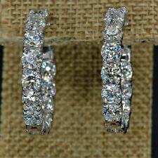 1.20Ct Round Cut VVS1/D Diamond Huggie Hoop Earrings Solid 14K White Gold Finish