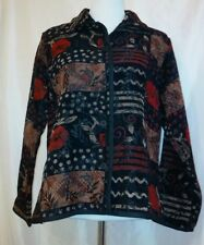 Coldwater Creek Chenille Patch Work Jacket Blazer reversible Sz Small Nice $69