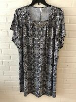 New NY Collection Woman's Flutter Sleeve Hardware Shift Dress Black Plus  L12