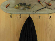 Wooden fishing hanger for jackets, coats, or as a decoration in fishing rooms