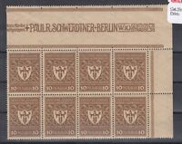 Germany 1922 10 Mark Commercial Control Margin Block Of 8 MNH J2591