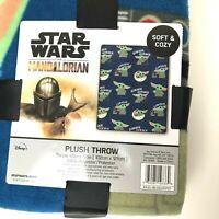 "Disney Star Wars Baby Yoda Blue BLANKET 40"" x 50"" FLEECE THROW Mandalorian"