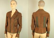 LILLIE RUBIN Real Leather Suede Coat Jacket Blazer w Silk Crochet Design Trim 6