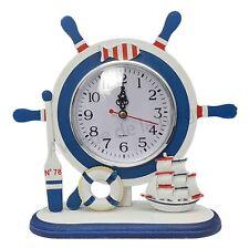 Horloge barre à roue, gouvernail, bleu, blanc, rouge décoration style marin neuf