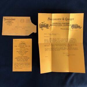 1917 Mallalieu Conrey Hit Miss Engine Gasoline Letter Head Philadelphia Pa
