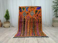 Moroccan Boujaad Vintage Handmade Rug 3'2x5'2 Berber Striped Orange Wool Carpet