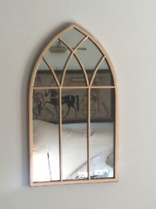 Petite French Style Gothic Arched Gold Mirror Inside /Outside